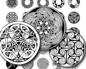 Celtic patterns Black and white Circles Digital Collage Sheet 1x1 inch. Printable round images for pendants cabochon button 057