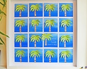Beach - Destination Wedding Guest Book -  Hand Painted Palm Trees - Up to 202 signatures (Includes instruction card and Pen)