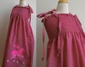 HORSE Large Girls Shirred Sundress. Pink Star Chinese Horoscope Zodiac. Screen Animal Print Summer Dress. Cotton Fabric. Size Large 4T-6