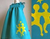 GEMINI Medium Girls Shirred Sundress. Sea Green Horoscope Zodiac Hand Screen Print Summer Dress. Cotton Fabric. Size Medium 2T-4T