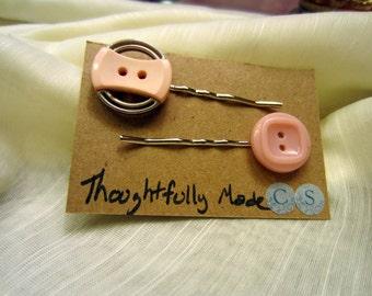 Vintage Pink Button Bobby Pin Set