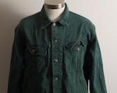 Green Trucker Style Jacket Denim Medium Large