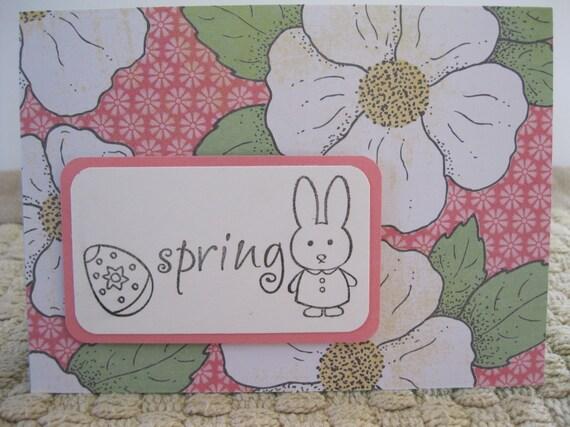 Easter, Spring, Hand-stamped, Floral, Pink