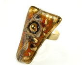 Adjustable ring - red and rich tangerine stone shapes