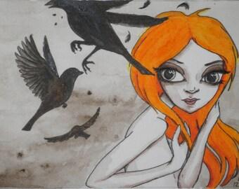 ACEO bird girl original painting