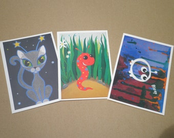 critters set of 3 art postcards