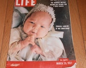 Life Magazine March 25,1957.  Featuring Princess Caroline at her christening on the cover.  Also Cuba, and Yogi Berra inside.