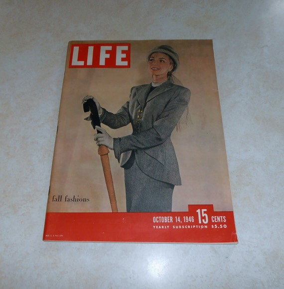 Vintage Life Magazine October14, 1946. Featured cover piece on Fall Fashions. Expose Nurnberg trial inside.
