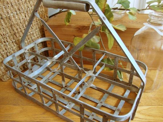 metal milk bottle carrier by luckystreet on etsy. Black Bedroom Furniture Sets. Home Design Ideas