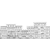Custom Brownstone, Building, Block, City Illustrated Drawing