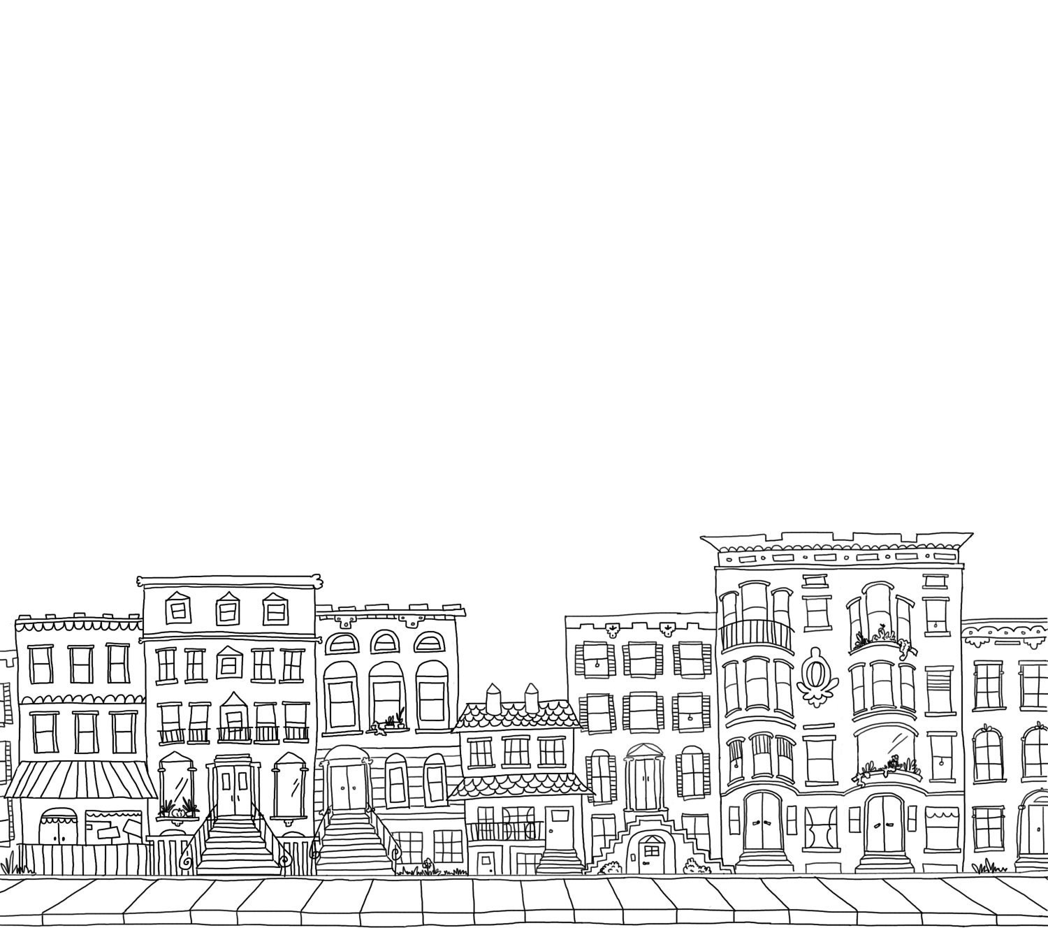 Line Art Building : Custom brownstone building block city illustrated by ohtruth