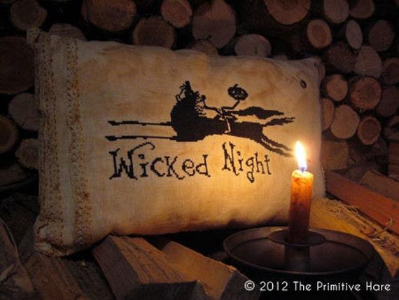 Primitive cross stitch pattern: Wicked night