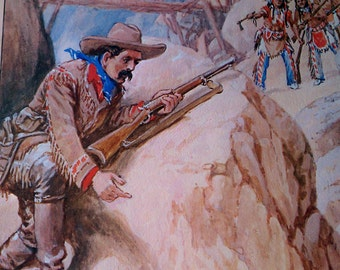 Vintage Buffalo Bill Cody Novels Lithograph, Buffalo Bill's Gold Trail,  Robert Prowse 1978