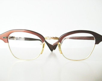 Vintage Eyeglasses Copper  Brown and Gold with Cowhide Case