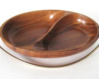 Vintage Mid Century Teak Bowl - Divided With Metal Handle