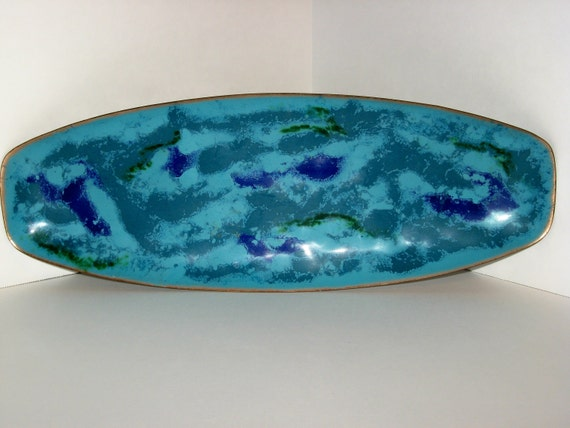 Mid-century Bovano Enameled Copper Vintage Tray or  Dish