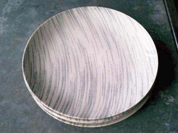 Vintage Royal China Plates, Windblown - grey, mid century, set of 4, circa 1950