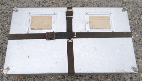 Vintage postal shipping box, aluminum, military style container, circa 1950