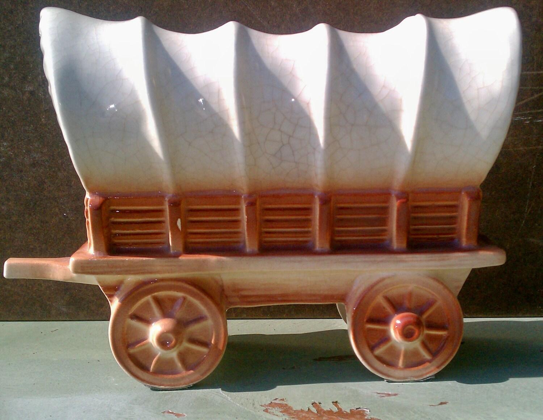 Vintage Covered Wagon Planter Western Pioneer Circa 1950