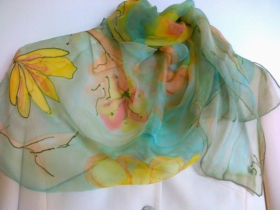 Hand Painted Light Green  Chiffon Silk Scarf with Yellow and Orange Flower Motifs. FREE SHIPPING