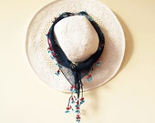 navy blue mixed pattern over,Traditional Turkish   Scarf,authentic, romantic, elegant, fashion,weddings,bridal,vintage,rustic