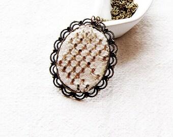 Vintage-Embroidered  Necklace,TURKISH  filigree necklace-ethnic necklace-tribal necklace-antique piece