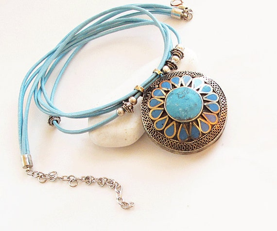 Ethnic Afghan  Necklace- turquoise blue turkish jewelry  -Bip tribal necklace-Ethnic chunky necklace