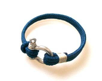 Nautical Sailing Bracelet  Stainless steel  Shackle -Rope Bracelet- Paracord Bracelet- Navy