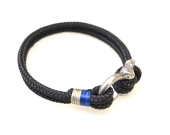 Nautical Sailing Bracelet  Stainless steel  Shackle -Rope Bracelet- Paracord Bracelet- Black3