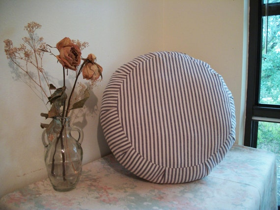 Zafu Meditation Cushion COVER in Pillow Ticking