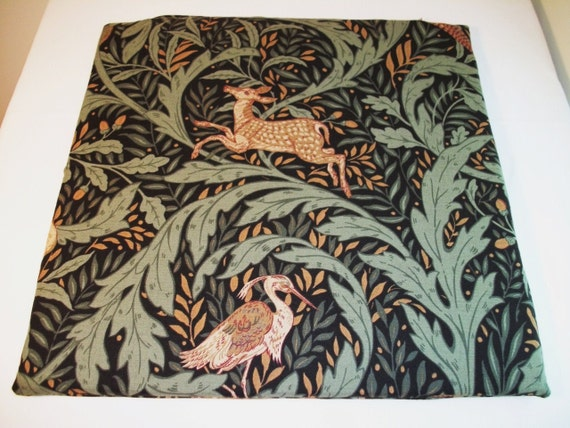 Deer and Heron Print Zabuton Cover with zipper.  Floor Pillow Cover. Handmade by Small Business in the USA