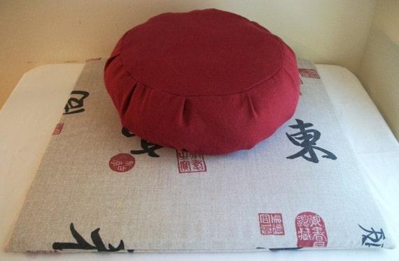 Zafu and Zabuton Set. Oriental Print Zabuton. Red Zafu. COVERS ONLY. Handmade by a Small Business in the USA