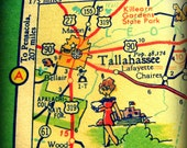 vintage map TALLAHASSEE print 8x8 FLORIDA photograph illustrated cartoon retro state university fsu wall art picture nostalgia