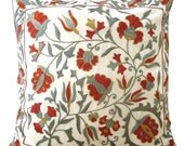 Floral Suzani Pillow Cover with Intricate Begiz Hand Embroidery (18 x 18), Turkoman Design, Burgundy, Blue Gray, Mustard
