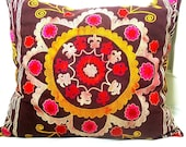 Antique Suzani Hand Embroidered Pillow Cover , Mustard, Magenta, Burdundy