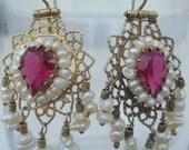 SALE Handmade Vintage Bukharian Silver Earrings with Pearls on Tassels