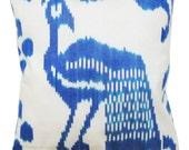 Silk Handwoven Ikat Pillow Cover, Blue, White, Peacock