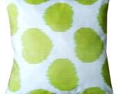 Lime Green Polka Dot  Hand Woven Ikat Pillow Cover (16'' x 16'')
