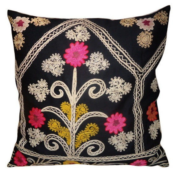 Antique Hand Embroidered Suzani Pillow Case with Natural Linen Backing (Pink Coral Mustard Yellow Black Cream)