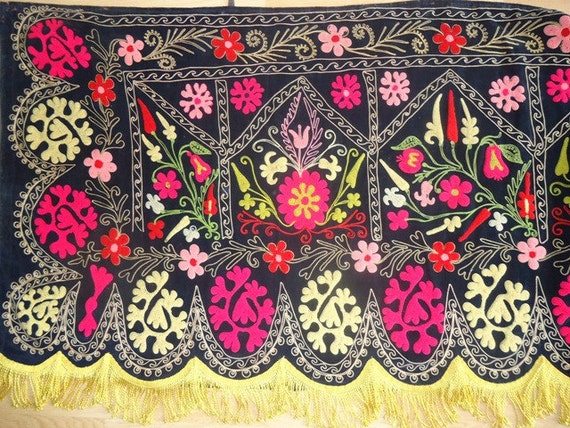 11.6 yards long Vintage Black Velvet Suzani Panel with Boucle Embroidery and Silk Fringe