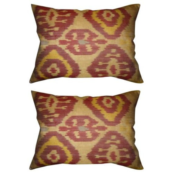 Set of 2 Organic Antique Design Handwoven Naturally Dyed Ikat Pillow Covers with Linen Backing (Beige, Burgundy, Mustard) 14'' x 18''