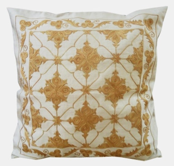 Silk Hand Embroidered Pillow Cover (Moroccan Style) Beige Cream Yellow Mustard