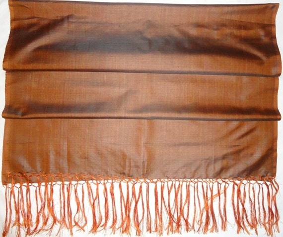 Chocolate Silk Hand Woven Scarf / Shawl / Table Runner with Fringe (59'' x 22'')