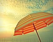 Beach Umbrella  Vintage Effect   5x7 Photograph