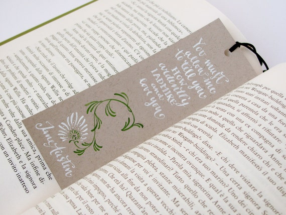 Darcy's proposal bookmark, with handwritten calligraphy