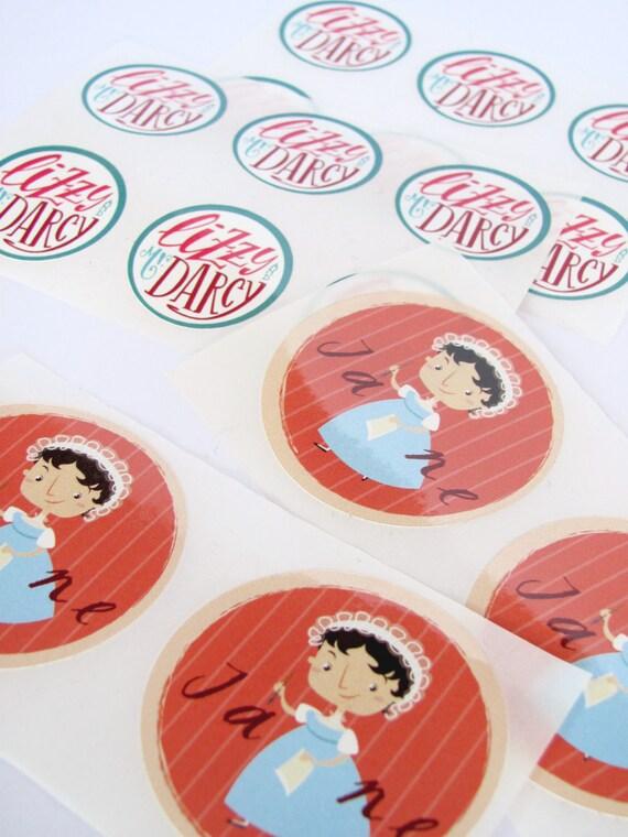 Jane Austen, Pride and Prejudice  round stickers - Set of 16