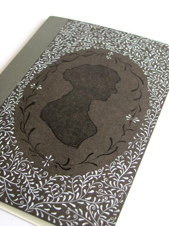 Jane Austen hand painted black notebook (10,5 x 14,5 cm - 4.15 x 5,70 inches)