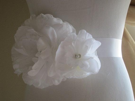 The Allison:  Custom Flower Bridal Wedding Sash, White
