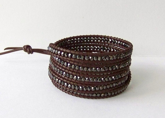 Chan Luu Inspired Wrap Bracelet with Gunmetal Nuggets on Brown Leather