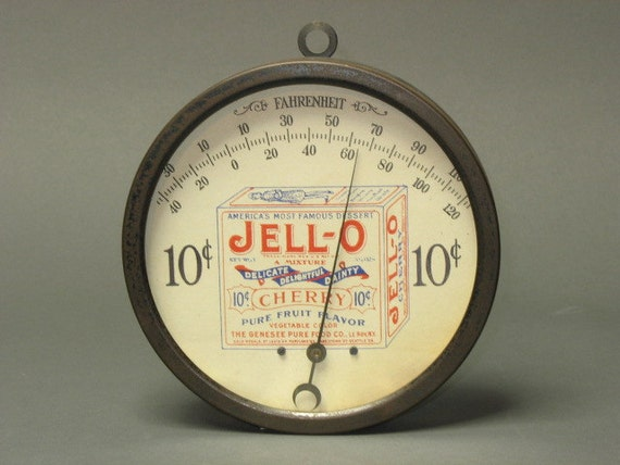 Wonderful Antique Jell-o Round Advertising Thermometer - 10 cent -- works GREAT